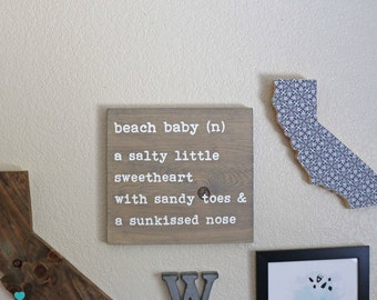 Only 1 left! DISCONTINED DESIGN Beach Baby Rustic Handpainted Wood Beach Sign