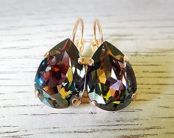 Dark multicolor earrings, Fall earrings, Swarovski Midnight Crystal, Fall wedding, pear shape earrings, dark dangle earrings, rose gold