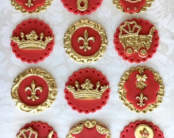 Red and Gold Prince Baby Shower. Red and Gold Cupcake Toppers. Royal Prince Cupcake Toppers. Fondant Cupcake Toppers. Crown Cupcake Topper.