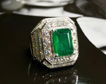 18k Emerald Ring Etsy
