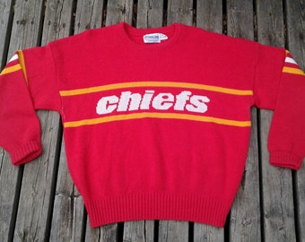 Vintage Cliff Engle 80's Kansas City Chiefs Knit Sweater Made in USA XL