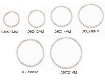 14k SOLID ENDLESS HOOPS White Gold Thin Endless Hoops 10mm. 12mm. 14mm. 16mm. 18mm. 21mm. Available In Multiple Sizes(.030mm) HEW1Valentines