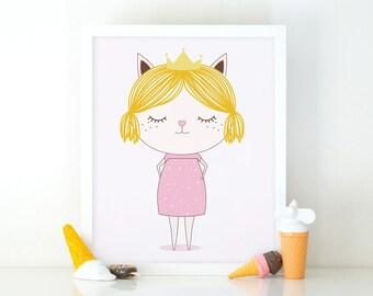 Little princess blondie, Princess print, printable wall art, Girls room decor, Nursery decor, cute print, nursery wall art, Princess poster