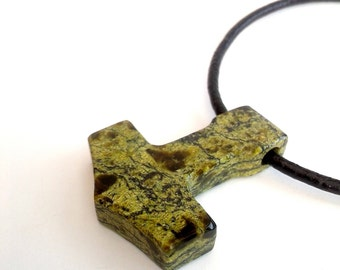 Large Serpentine Mjolnir, Mens Stone Necklace, Viking Jewelry for Men, Thors Hammer