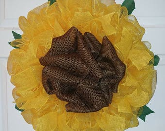 "Ready to Ship! 21"" Sunflower Wreath made with Burlap and Deco Mesh! Fall, Summer, Anytime Wreath!"