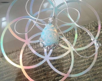 Sea Opal crystal necklace with 925 silver chain