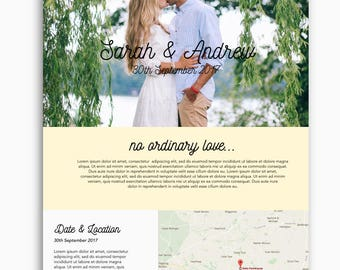 Bespoke wedding website, wordpress website, romantic theme, feminine theme, custom wedding website design, custom domain
