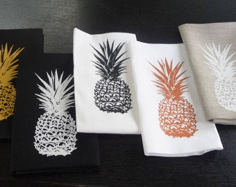 Pineapple Tea Towel - Features 3 Pineapples in various colours