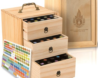 Essential Oil Box - Wooden Storage Case With Handle. Holds 75 Bottles & Roller Balls. 3 Tier. All Natural Wax Finish. Free EO Labels