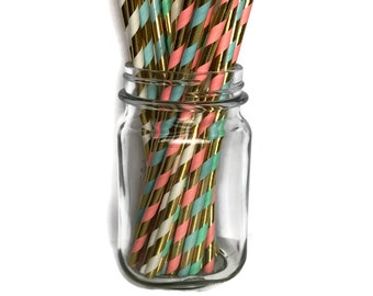 Bridal Shower Straws - Pastel - Paper Straws - biodegradable with gold stripes -