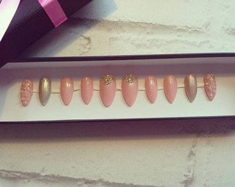 """fake nails prédécorés gel paste Pearl powder mirror press on nail """"baby powder"""""""