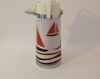 Retro Sailboat Airpot Air Pot Insulated Coffee Thermal Carafe Nautical Thermos Urn Beverage Drink Dispenser Glamping Camping Ship Sail Boat