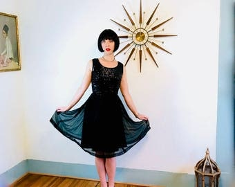 Black 60s cocktail dress, 60s Sequin Dress, Chiffon Party Dress, Little Black Dress, 50s Cocktail dress, 1960s party dress, Fit and Flare, 4