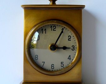 Vintage Solid Brass Mantle Coffee Table Desk Clock (1970s)
