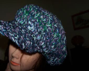 Slouchy Cabbie Blue Purple Green Marled Newsboy Brim Visor Tam Hat New Hand Crochet Big Baggy Ready to Ship! Marled Tweed Color Mix