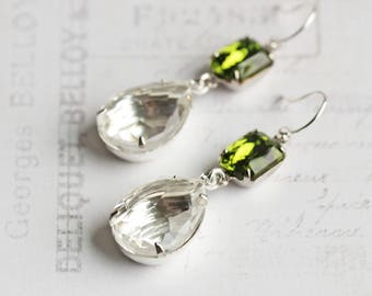 Clear Rhinestone Teardrop Dangle Earrings with Olive Green on Silver Plated Hooks