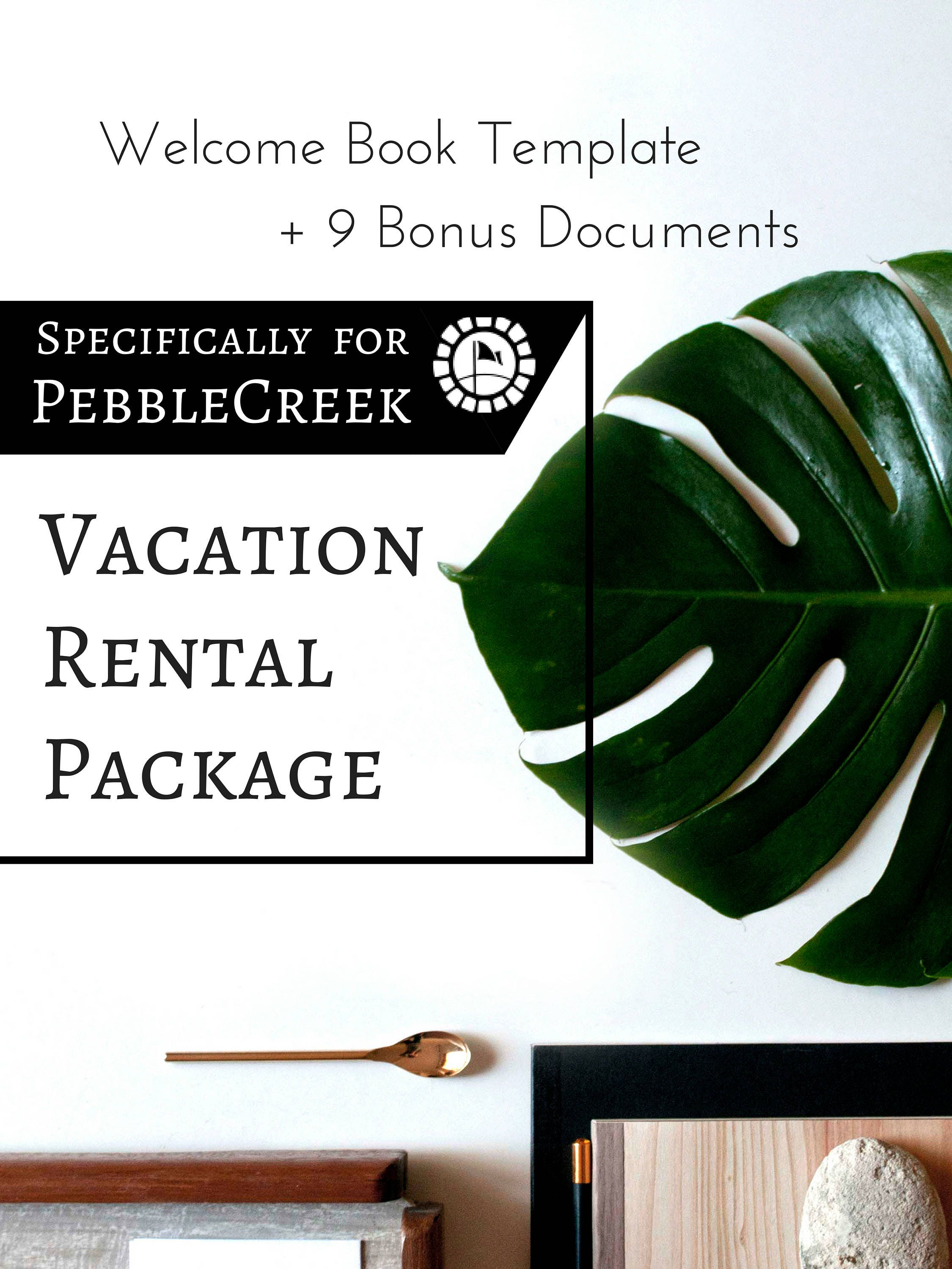10 item package vacation rental welcome book template for. Black Bedroom Furniture Sets. Home Design Ideas