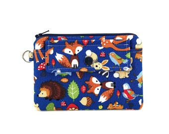 Animal Pouch - Zippper Pouch - Coin Purse - Woodland Animals Bags - Small Keychain Wallet - Snap Pouch - Change Purse - Padded Pouch