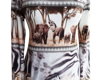 Plus Size Cotton Shirt, Elephants Print Shirt, Women Shirt, Animal Print, Long Sleeves Shirt, Printed Shirt, Winter Shirt, Designers Shirt