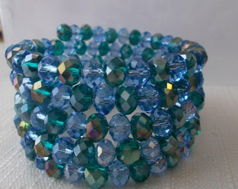 5 Row Memory Wire Cuff with Blue and Green Metallic Crystal Beads