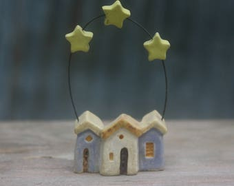 tiny row houses with stars, OOAK miniature or Christmas ornament, hand carved stoneware