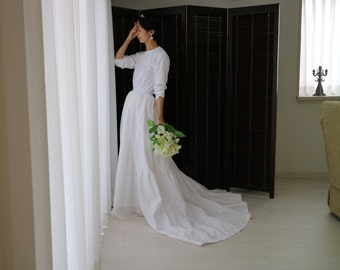long sleeve wedding dress,2 piece wedding dress,wedding separates,long sleeve maxi dress,simple wedding dress,casual wedding dress