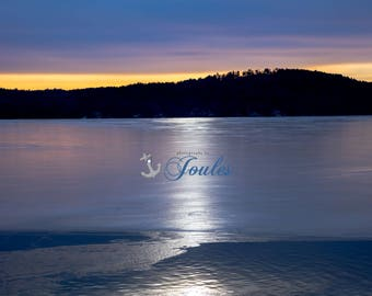 Winter Glow ~ Lake Winnipesaukee, New Hampshire, Mountain, Ice, Art, Artwork, Photograph, Joules, New England, Sunrise, Winter Scenes