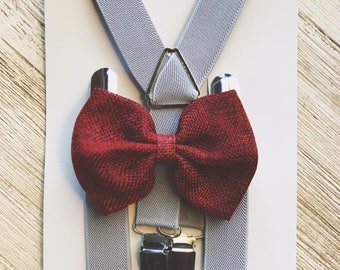 Ring Bearer Outfit Gray Toddler Suspenders Grey Boy Suspenders Gray Wedding Suspender and Bow Tie Set Suspenders