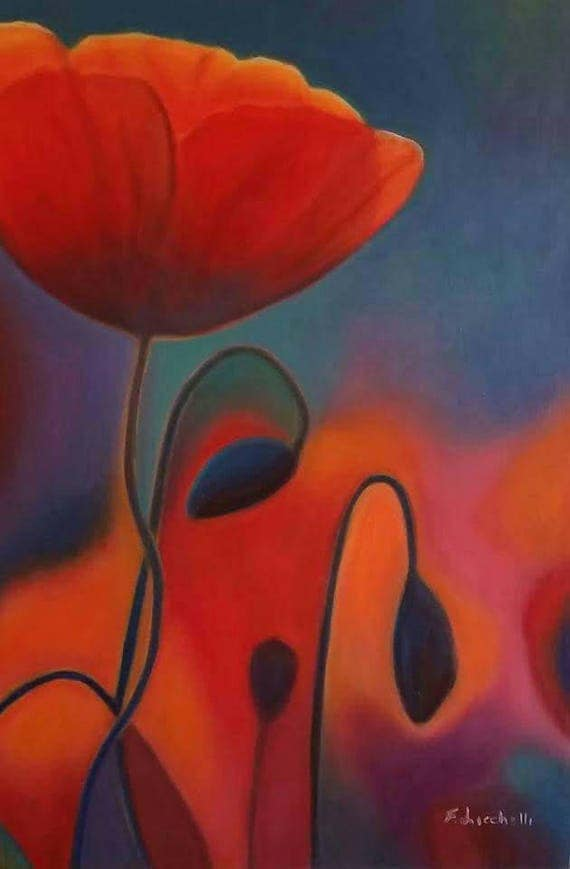 Night of poppies, giclée fine art print of original artwork, oil on canvas, elegant gift idea for girl or lady, home decoration, wall art.