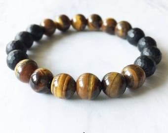 Onyx, Onyx Bracelet, Tigers Eye, Tigers Eye Bracelet, Crystal Bracelet, Gemstone Beaded Bracelet, Chakra Jewelry, Beaded Bracelets, 8mm