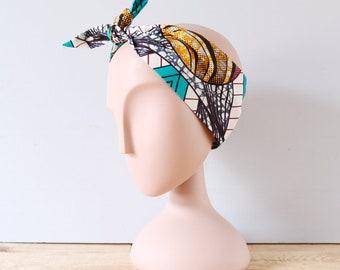 Headband wax terra cotta et bleu lagon / Accessoire de coiffure femme wax / Hippie style / Boho chic / Ethnique
