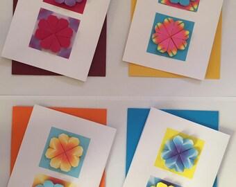 Handmade Origami Greeting Cards (pk 4)