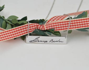 Actual handwriting jewelry-Memorial Signature necklace-925 sterling silver name bar necklace-gift for sister,Mom