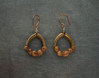 Mixed metal earrings Bronze and brass Wood seed earrings Nature inspired Natural dangle earrings Jewellery for her Tribal earrings