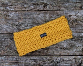 Mustard Knit Headband Ear Warmer. Hand knitted wide yellow gold head band earwarmer. Handmade thick chunky knit for Men or Women S/M L/XL