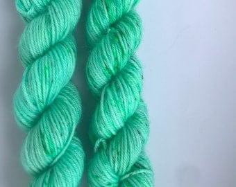 Electric Seafoam Mini Skein Hand Dyed Speckled Yarn by Felicity Yarn Studio