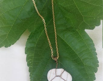 Wire-wrapped weathered shell necklace