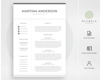 Modern Resume Template | Professional CV Template for Word | Cover Letter | Clean Resume Design | Mac & PC | Instant Download | Martina