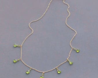 Green Peridot Necklace, August Birthstone Necklace, Green Gemstone, Peridot Jewelry, Gold Filled or Silver Chain