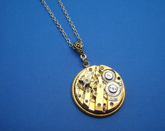 Vintage Round Watch Movement Pendant Necklace