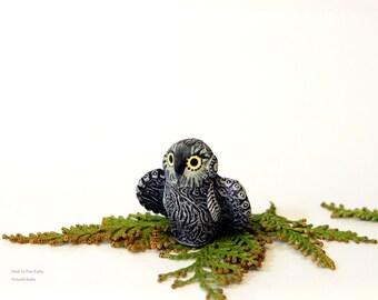 Owl Miniature Bird Totem Figurine Eagle-owl Fantasy Sculpture Birdie Figure Guardian Spirit TotembyKarhu
