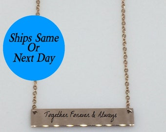Rose Gold Handwriting Necklace, Handwriting Bar Necklace, Handwriting Signature Necklace, Engraved Handwriting, Gift for Her, Mother's Day