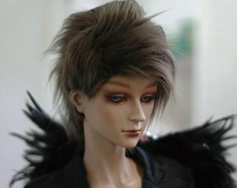 BJD Wig Two Block Dark Brown 9-10 8-9 7-8 6-7 inch Synthetic Fur Wig