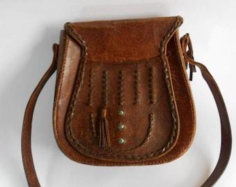 ON SALE Brown leather bag, vintage brown leather shoulder bag, tooled leather bag purse handbag, little brown leather bag, boho hippie leath