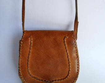 20% SALE Brown leather bag, vintage brown leather shoulder bag, tooled leather bag purse handbag, little brown leather bag, boho hippie leat