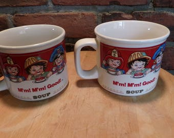 Vintage Campbell's soup collectible mugs, Two Campbell's soup mugs, Vintage Campbell's mugs