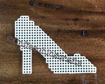 Plastic Canvas High Heel Shoe Out   Plastic Canvas for Needlepoint Shoe Shape