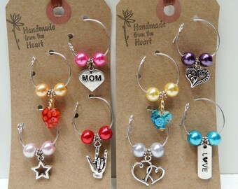 """4 or 8 Wine Charms - Drink Tags: """"Love 4 Mom"""" Eco-friendly Mother's Day, Baby Shower, New Mom Gift. EACH DIFFERENT, Reusable Glamping WC115"""