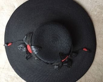 Vintage 1930's fine Straw Hat Large Brim Black red Flowers Old Stock Stunning Superb condition.never used For 1930 collection, party, women
