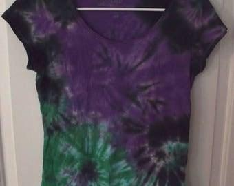 Purple and green tie dye tee womens short sleeve